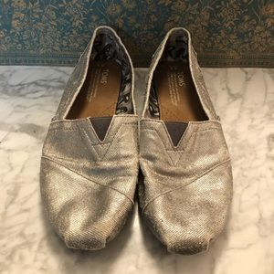 Toms Distressed Silver Canvas Flats